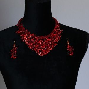 Seed bead red coral necklace with earrings